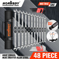 48Pc Wrench Set Ratchet Spanner & Hex Key SAE Metric Allen Key W/T Rolling Pouch
