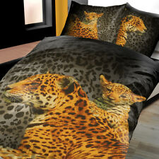 Mikrofaser Bettwäsche 135x200 cm 2 teilig Afrika Leopard braun