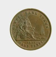 s833_67) Canada Quebec Bank Token HALF PENNY 1852