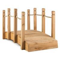 Pont décoratif pour jardin extérieur 58 x 58 x 122 cm bois massif 10kg + cordes