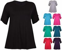 Womens Plus Size New Short Turn Up Sleeve Ladies Plain Stretch Flared Swing Top