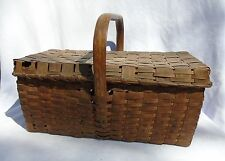 Antique Primitive Large Oak Splint Lidded Market Picnic Basket Signed North