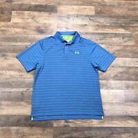 UNDER ARMOUR Men's Polo Shirt Men's Medium Short Sleeve Loose Heatgear Logo Blue