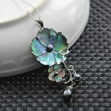 Colorful New Zealand Natural Carved Abalone Shell Flower Pearl Pendant/Necklace