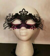 Mardi-Gras Purple Black Metal Die-Cut Lace Half Mask Venetian Masquerade Women