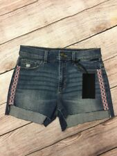 NWT SZ 28 Nordstrom SP Black Label  Embroidered  Trim Cutoff Jean Denim Shorts