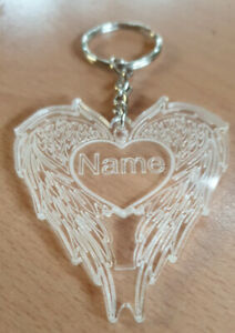 memorial Personalised Gift  Angel Wings Acrylic Gift Engraved Keyring with name