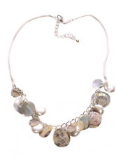 Ladies White Suede Inspired Pearl Beaded Marble Stone Modern Necklace(Zx79)