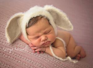 Hand Crochet Knitted Baby Hat Bunny Rabbit Bonnet Photo Prop Boy Girl Newborn-6M