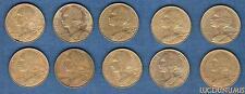 Vème République, 1959- – Lot de 10 pièces de 20 Centimes Marianne TB à SUP