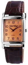 Alain Miller Herrenuhr Zifferblatt und Band Braun Armbanduhr SAM494