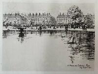 Eugène Bejot gravure eau forte etching Le Bassin Des Tuileries Paris Louvre