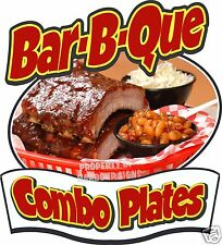 "BAR-B-QUE Combo Plates Decal 14"" BBQ Barbeque Restaurant Concession Food Truck"