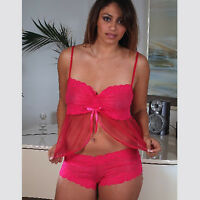 Plus Size Lingerie Size 1X  2X  or 3X  Pink Crop Top Babydoll Set  5221X