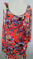 Lane Bryant Top Blouse Womens Plus Size 18 20 Flowy Coral Floral With Pink Cami