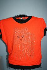 Silver Sparkle Glitter Cat Design orange top shirt blouse Medium Halloween