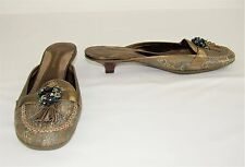 ENZO ANGIOLINI Gold Green Fabric Slip On Shoes Rhinestone Leather - Size 7 1/2 M