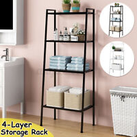 "58"" 4-Tier Durable Bookcase Bookshelf Leaning Wall Shelf Shelving Ladder Storage"