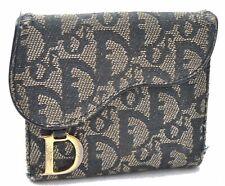 Authentic Christian Dior Trotter Sattel Geldbörse Canvas Leder blau c4166