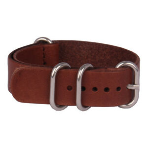 Retro Genuine Leather 20mm Brown Black Watchband Watch Strap Wristwatch Band