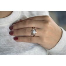 Guard 14K Rose orWhite Gold Over 1.00Ct Round Diamond Double Row Beautiful Ring