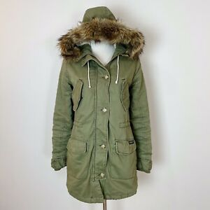 ABERCROMBIE & FITCH Women's XS Olive Green Twill PARKA Coat Jacket SHERPA LINED