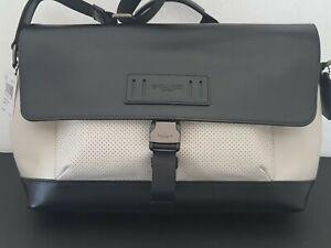 NWT COACH MENS TERRAIN BIKE MESSENGER BAG QBCHK $ 425.00 BLACK WHITE