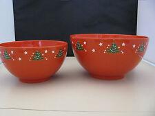 2pc Serving Bowl Set Waechtersbach Christmas Tree German Stoneware 48 & 72oz New