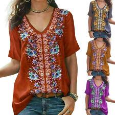 Women Boho Embroidered Tops Shirt Short Sleeve Blouse Lady V Neck Loose T-Shirts