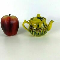 Antique Miniature Japanese Pottery Satsuma Yellow Glaze Teapot