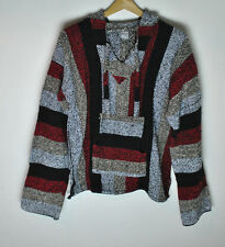 Mexican Baja Pancho Pullover Hoodie Sweater Multi Color size Medium