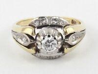 Diamant Brillant Ring 14K 585 Gold bicolor 0,29 ct. Lupenrein / Wesselton