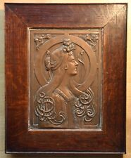 Art Nouveau repousse copper plaque by listed artist Albert Reimann c. 1900
