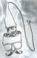 "NOVELTY *MOUSTACHE, GLASSES & TOP-HAT 30"" SILVERTONE PENDANT & CHAIN NECKLACE"