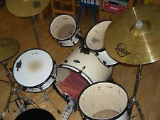 Basix Erwachsenen Schlagzeug, weiß, mit viel Zubehör
