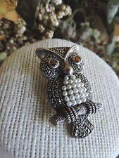 Vintage Sterling Silver 925 Marcasite Figural Owl Brooch Pin
