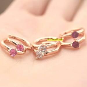 925 Sterling Silver Light Blue Pink Solitaire Huggie Hoop Earrings