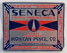"Vintage Mohican Pencil Co. Label, ""Seneca"" Colored Indelible Pencils, No. 550"