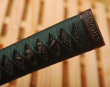 Dark Green Synthetic Silk Ito Black Rayskin Tsuka for Japanese Samurai KATANA