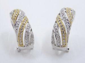 "2-TONE SOLID 18K GOLD 0.92 TCW DIAMOND STATEMENT EARRINGS ~ 5.4g * 3/4"""