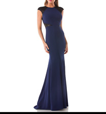 Carmen Marc Valvo Sequin Trim Trumpet Infusion Gown Dress Navy/Black Size 4