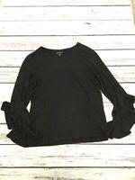 Banana Republic Size XSmall Women's Top Black Ruffle Bell Sleeve Knit Shirt XS