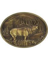 Montana Silversmiths Sculpted Wild Elk Heritage Attitude Belt Buckle Gold