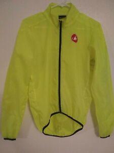 Castelli Cycling Rain High Viz Jacket Mens Sz Small (S) Neon Yellow