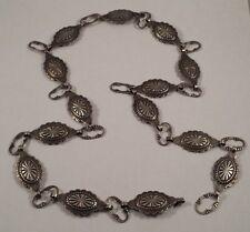 """Vintage Native Indian Concho Sterling Silver Belt 29-1/2"""""""