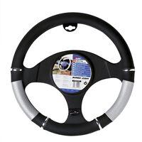 New Genuine Sumex Power PVC Car Steering Wheel Sleeve Cover - Silver & Black #65