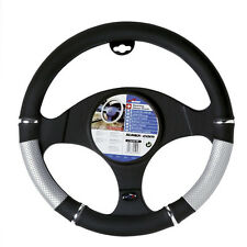 New Genuine Sumex Power PVC Car Steering Wheel Sleeve Cover - Silver & Black #65