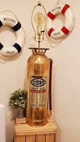 "Vintage Brass Fire Extinguisher Converted Corner Lamp Decoration Quick Aid 33"""