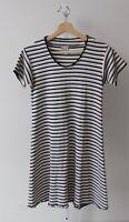 FITIGUES Ribbed Knit Short Sleeve V Neck Dress Mini Stripe Black White Tan Est S