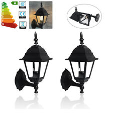 2X 4-Sides LED Wall Lantern Light Security Exterior Indoor Outdoor Lamps Black